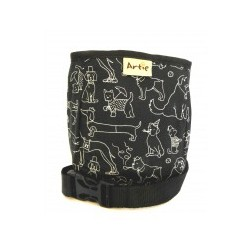 Pamlskovník jednokomorový na magnetické zapínání - psí siluety černobílý